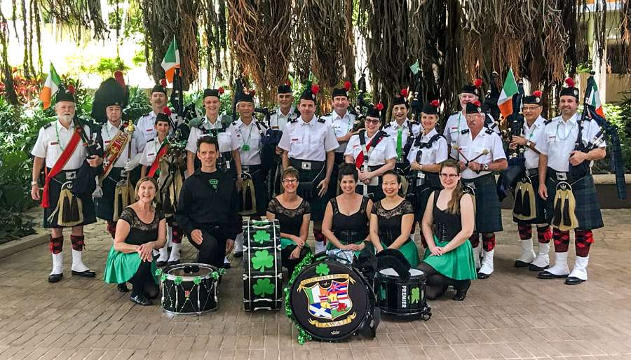 Celtic Pipes and Drums of Hhawaii Band in 2019, St. Patrick's Day