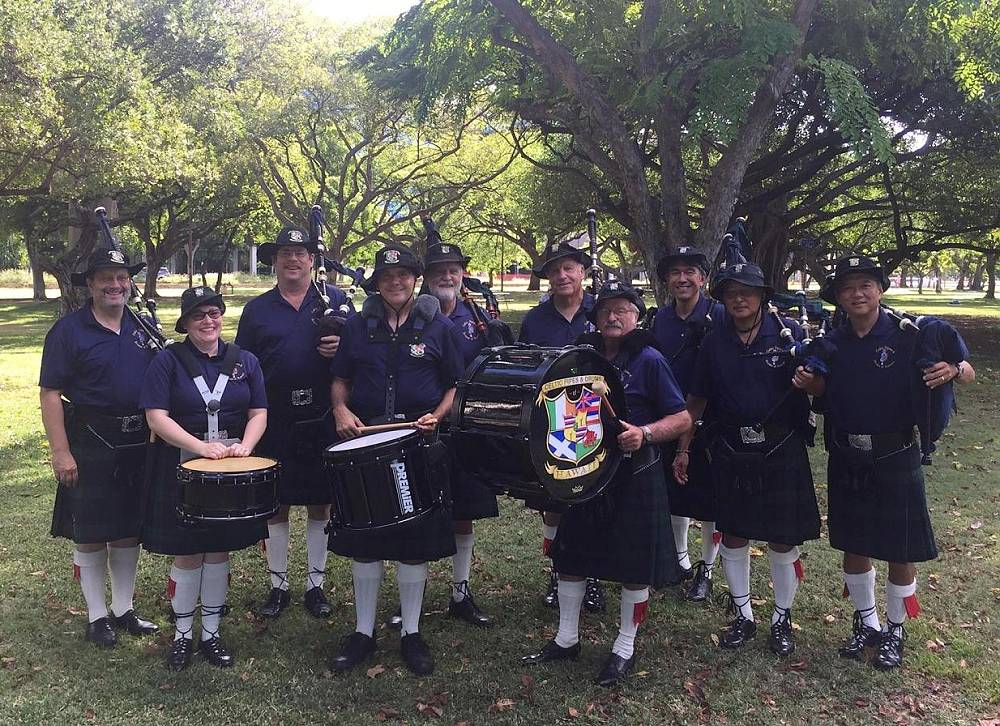 Celtic Pipes and Drums of Hawaii at cancer walk