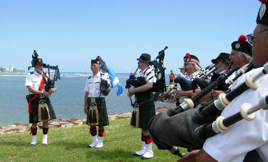 Celtic Pipes and Drums of Hawaii at the Willed Body Ceremony in Honolulu in April of 2017